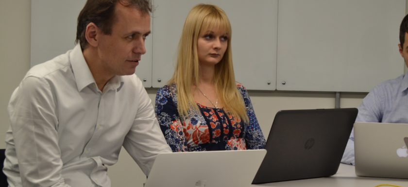 Dr. Tamas Kiss, COLA Project Director and Anna Shevchenko from ScaleTools